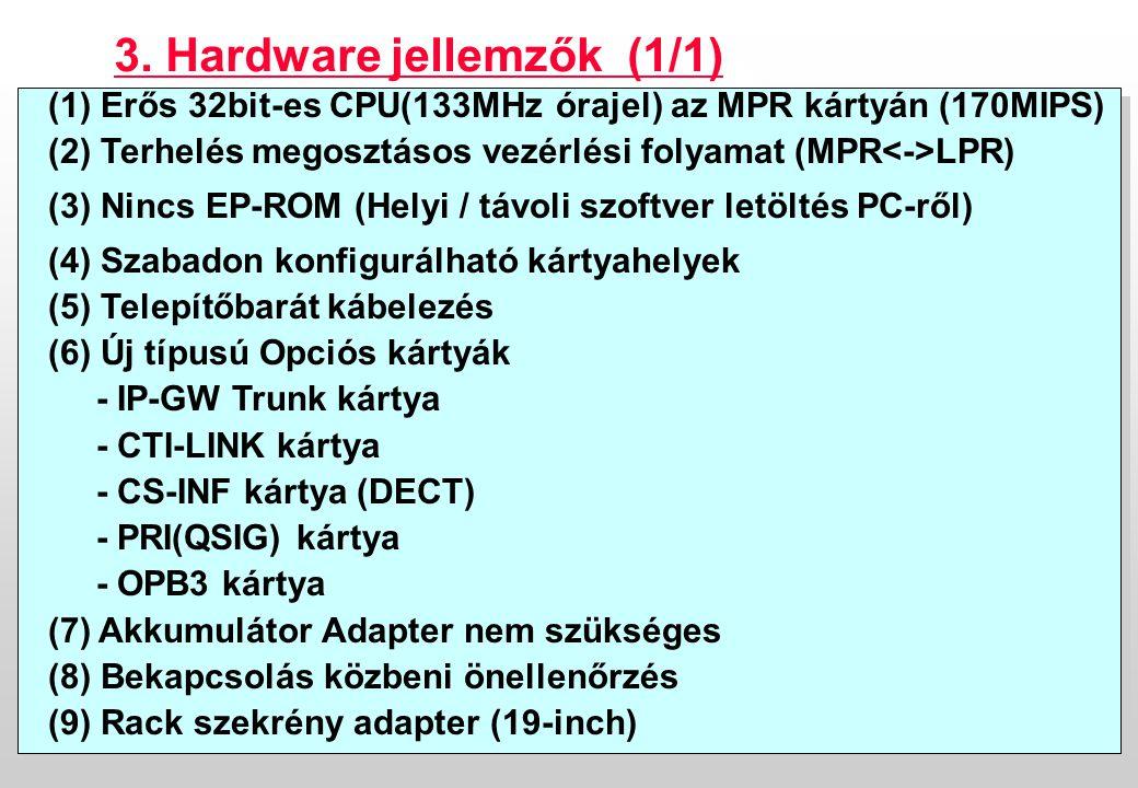 Confidential6 (1) Erős 32bit-es CPU(133MHz órajel) az MPR kártyán (170MIPS) (2) Terhelés megosztásos vezérlési folyamat (MPR LPR) (3) Nincs EP-ROM (Helyi / távoli szoftver letöltés PC-ről) (4) Szabadon konfigurálható kártyahelyek (5) Telepítőbarát kábelezés (6) Új típusú Opciós kártyák - IP-GW Trunk kártya - CTI-LINK kártya - CS-INF kártya (DECT) - PRI(QSIG) kártya - OPB3 kártya (7) Akkumulátor Adapter nem szükséges (8) Bekapcsolás közbeni önellenőrzés (9) Rack szekrény adapter (19-inch) (1) Erős 32bit-es CPU(133MHz órajel) az MPR kártyán (170MIPS) (2) Terhelés megosztásos vezérlési folyamat (MPR LPR) (3) Nincs EP-ROM (Helyi / távoli szoftver letöltés PC-ről) (4) Szabadon konfigurálható kártyahelyek (5) Telepítőbarát kábelezés (6) Új típusú Opciós kártyák - IP-GW Trunk kártya - CTI-LINK kártya - CS-INF kártya (DECT) - PRI(QSIG) kártya - OPB3 kártya (7) Akkumulátor Adapter nem szükséges (8) Bekapcsolás közbeni önellenőrzés (9) Rack szekrény adapter (19-inch) 3.