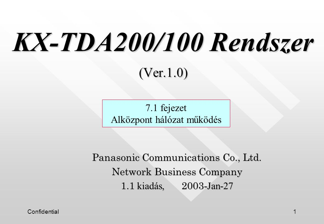 Confidential1 KX-TDA200/100 Rendszer (Ver.1.0) KX-TDA200/100 Rendszer (Ver.1.0) Panasonic Communications Co., Ltd.