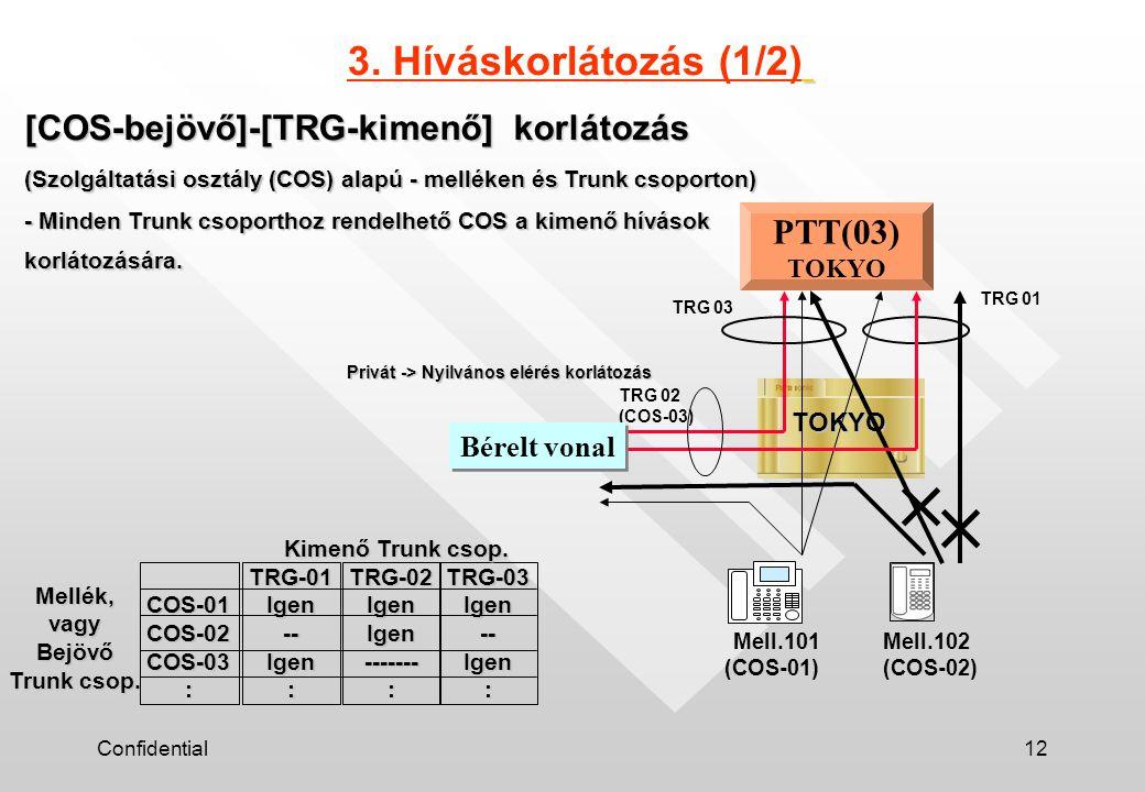 Confidential12 [COS-bejövő]-[TRG-kimenő] korlátozás (Szolgáltatási osztály (COS) alapú - melléken és Trunk csoporton) - Minden Trunk csoporthoz rendelhető COS a kimenő hívások korlátozására.