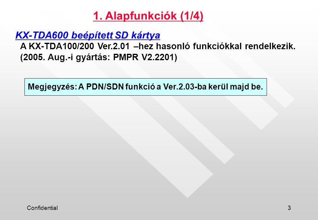 Confidential3 A KX-TDA100/200 Ver.2.01 –hez hasonló funkciókkal rendelkezik.