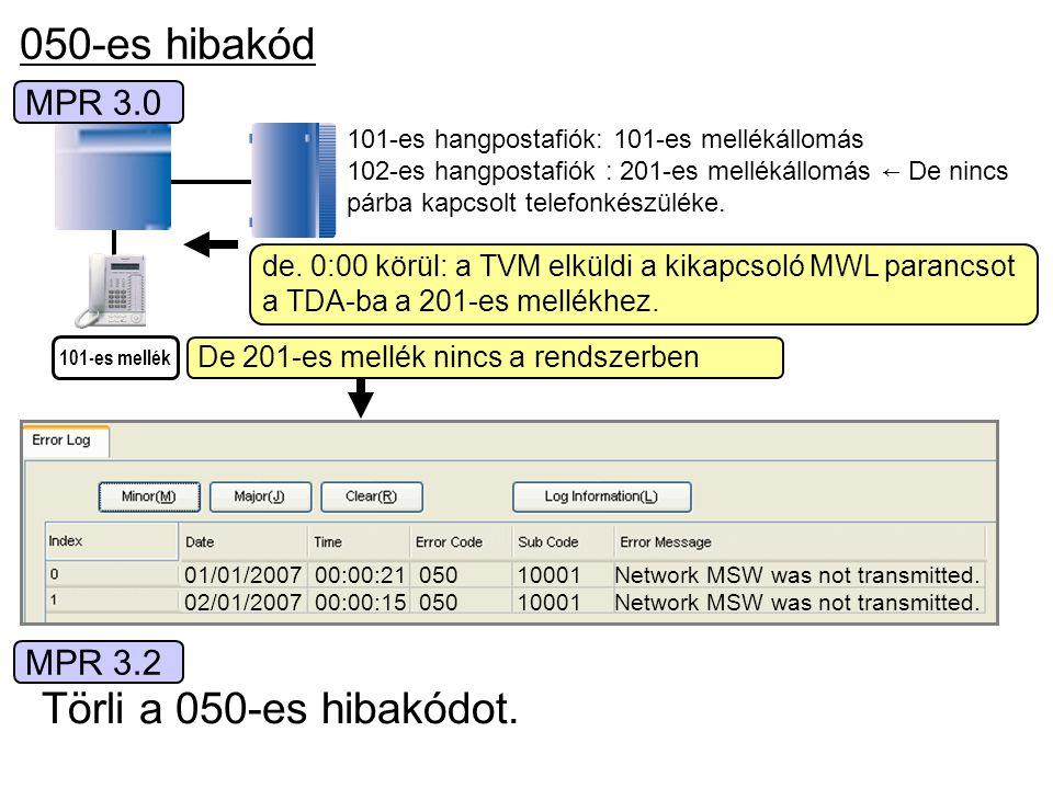 050-es hibakód de. 0:00 körül: a TVM elküldi a kikapcsoló MWL parancsot a TDA-ba a 201-es mellékhez. 101-es mellék 101-es hangpostafiók: 101-es mellék