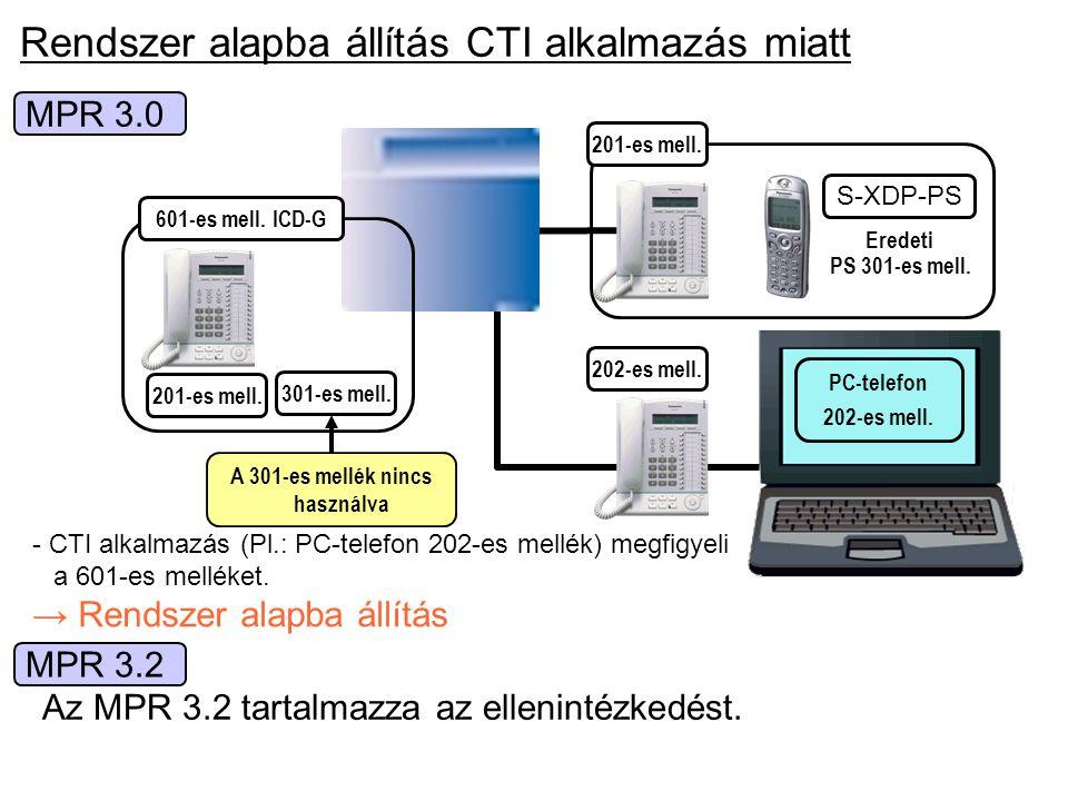 Rendszer alapba állítás CTI alkalmazás miatt MPR 3.0 - CTI alkalmazás (Pl.: PC-telefon 202-es mellék) megfigyeli a 601-es melléket. → Rendszer alapba