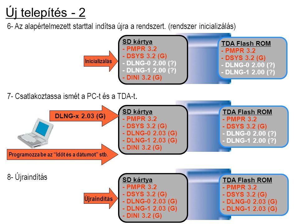 Új telepítés - 2 6- Az alapértelmezett starttal indítsa újra a rendszert. (rendszer inicializálás) 8- Újraindítás Újraindítás TDA Flash ROM - PMPR 3.2