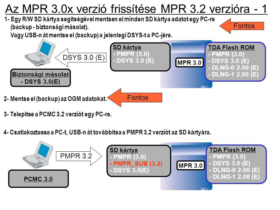 Az MPR 3.0x verzió frissítése MPR 3.2 verzióra - 1 1- Egy R/W SD kártya segítségével mentsen el minden SD kártya adatot egy PC-re (backup - biztonsági