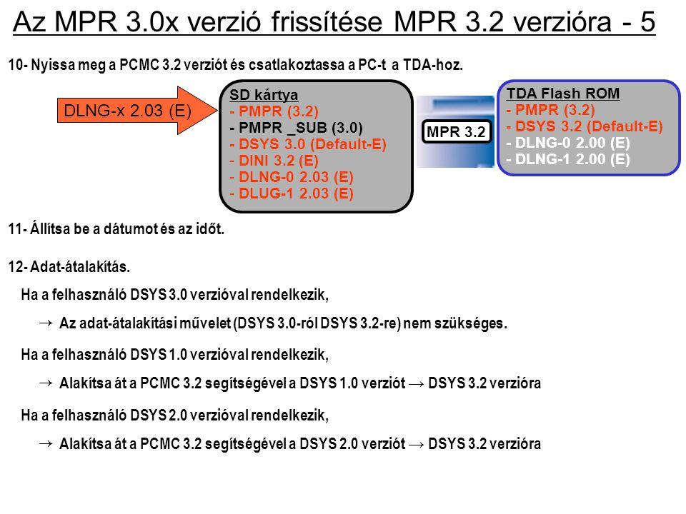 Ha a felhasználó DSYS 2.0 verzióval rendelkezik, Az MPR 3.0x verzió frissítése MPR 3.2 verzióra - 5 → Alakítsa át a PCMC 3.2 segítségével a DSYS 2.0 v