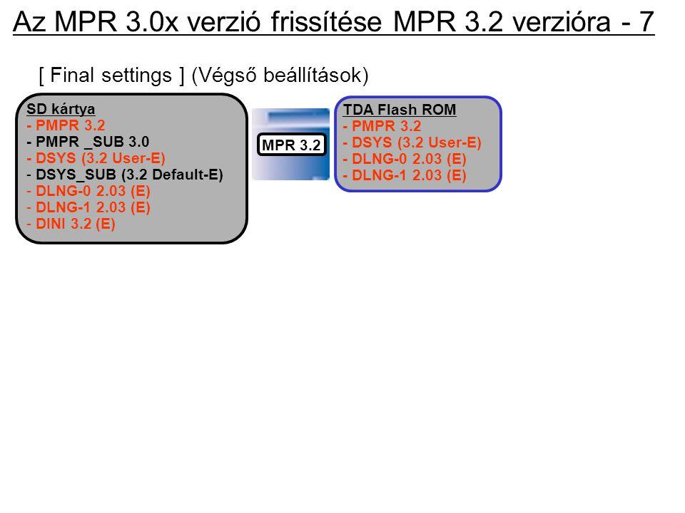 [ Final settings ] (Végső beállítások) TDA Flash ROM - PMPR 3.2 - DSYS (3.2 User-E) - DLNG-0 2.03 (E) - DLNG-1 2.03 (E) SD kártya - PMPR 3.2 - PMPR _S