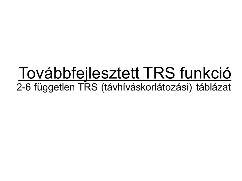 Továbbfejlesztett TRS funkció 2-6 független TRS (távhíváskorlátozási) táblázat