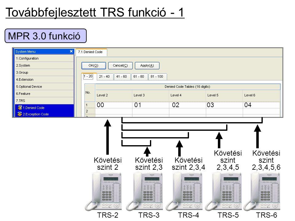 Továbbfejlesztett TRS funkció - 1 MPR 3.0 funkció TRS-2 Követési szint 2 0001020304 TRS-6 Követési szint 2,3,4,5,6 Követési szint 2,3,4,5 TRS-5 Követé