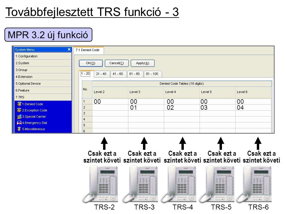 Továbbfejlesztett TRS funkció - 3 MPR 3.2 új funkció TRS-2 Csak ezt a szintet követi 0000000000 01020304 TRS-6 Csak ezt a szintet követi TRS-5 Csak ez
