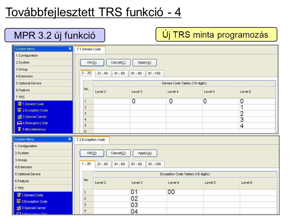 Továbbfejlesztett TRS funkció - 4 0000123400001234 MPR 3.2 új funkció 0100 02 03 04 Új TRS minta programozás