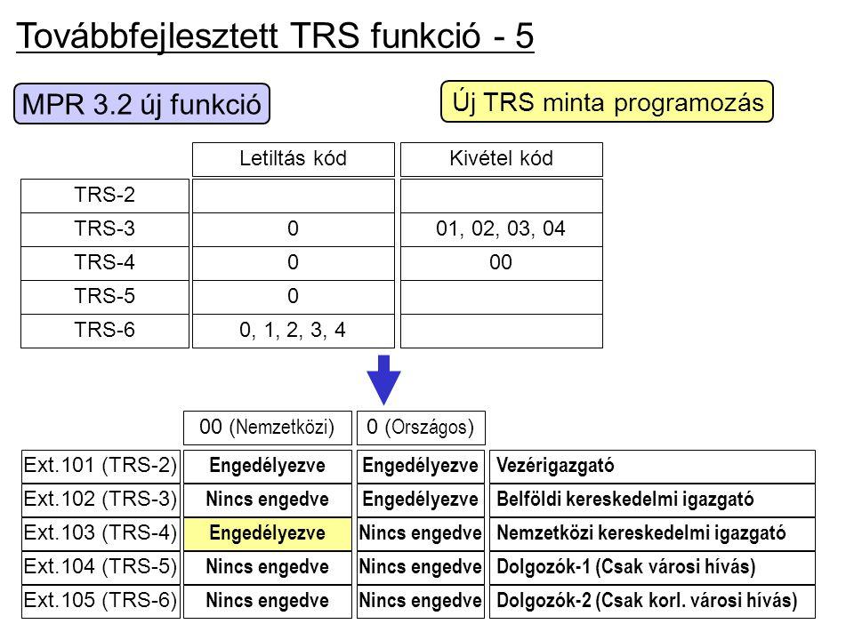 Továbbfejlesztett TRS funkció - 5 0 ( Országos )00 ( Nemzetközi ) Dolgozók-2 (Csak korl. városi hívás) Nemzetközi kereskedelmi igazgató Belföldi keres