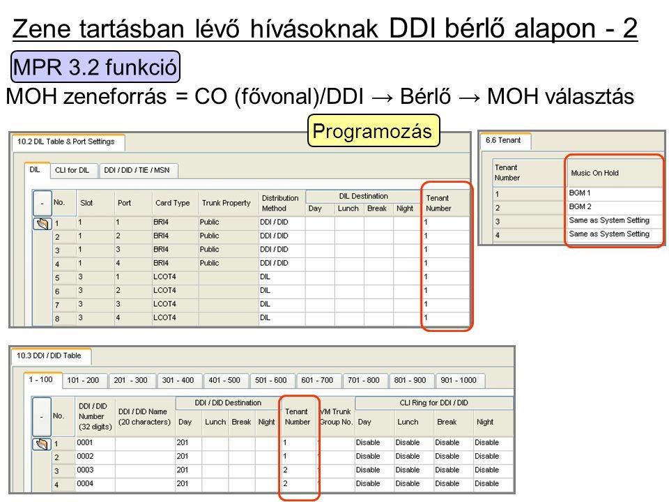 MOH zeneforrás = CO (fővonal)/DDI → Bérlő → MOH választás Programozás Zene tartásban lévő hívásoknak DDI bérlő alapon - 2 MPR 3.2 funkció