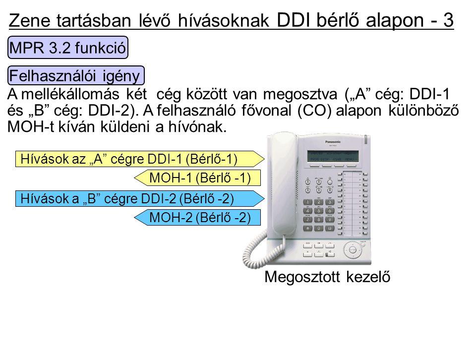 """Zene tartásban lévő hívásoknak DDI bérlő alapon - 3 Felhasználói igény A mellékállomás két cég között van megosztva (""""A"""" cég: DDI-1 és """"B"""" cég: DDI-2)"""