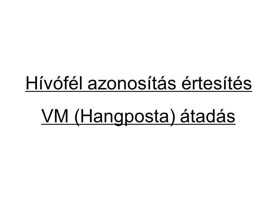 Hívófél azonosítás értesítés VM (Hangposta) átadás