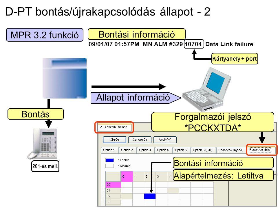 D-PT bontás/újrakapcsolódás állapot - 2 Állapot információ 201-es mell. Bontás MPR 3.2 funkció Alapértelmezés: Letiltva Bontási információ Forgalmazói