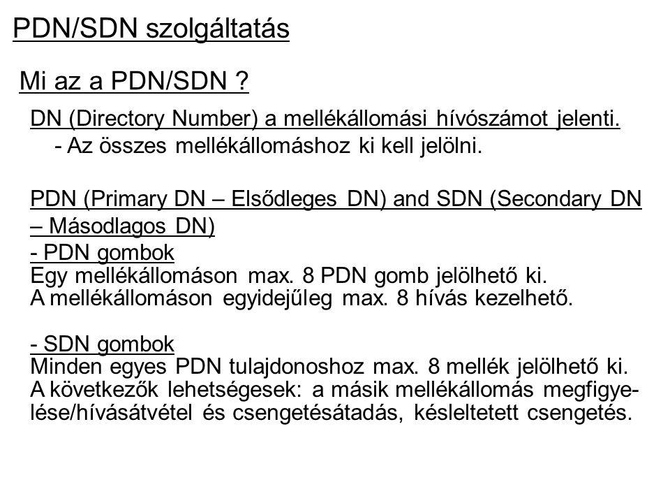 PDN/SDN szolgáltatás Mi az a PDN/SDN ? DN (Directory Number) a mellékállomási hívószámot jelenti. - Az összes mellékállomáshoz ki kell jelölni. PDN (P