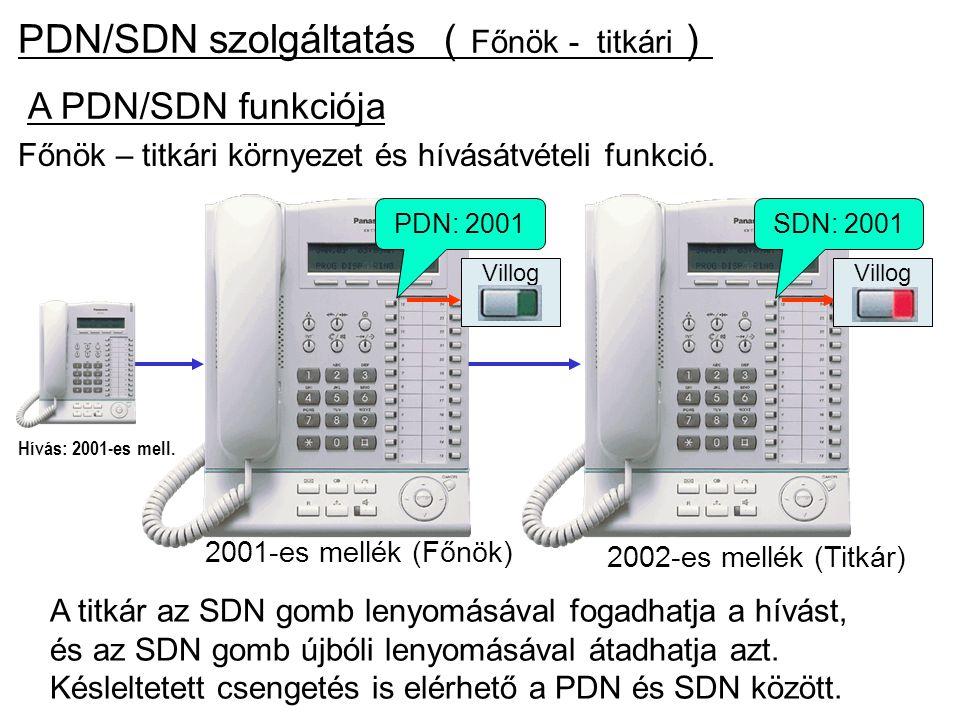 PDN/SDN szolgáltatás ( Főnök - titkári ) 2001-es mellék (Főnök) 2002-es mellék (Titkár) A titkár az SDN gomb lenyomásával fogadhatja a hívást, és az S
