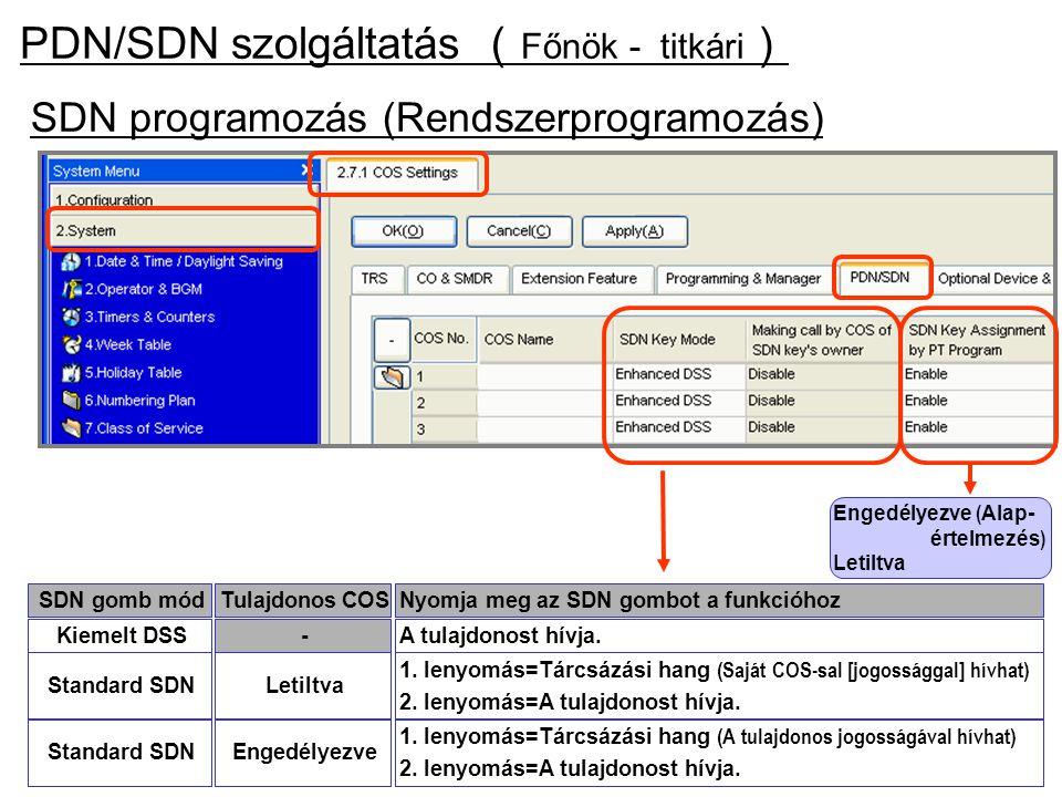 SDN programozás (Rendszerprogramozás) Engedélyezve ( Alap- értelmezés ) Letiltva Tulajdonos COSSDN gomb módNyomja meg az SDN gombot a funkcióhoz-Kieme