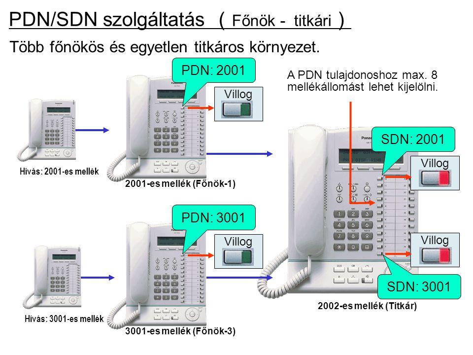 2002-es mellék (Titkár) Több főnökös és egyetlen titkáros környezet. Hívás: 3001-es mellék 3001-es mellék (Főnök-3) PDN: 3001 Hívás: 2001-es mellék 20