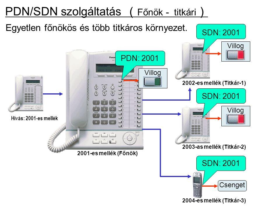 Egyetlen főnökös és több titkáros környezet. Hívás: 2001-es mellék PDN/SDN szolgáltatás ( Főnök - titkári ) PDN: 2001 2001-es mellék (Főnök) 2004-es m
