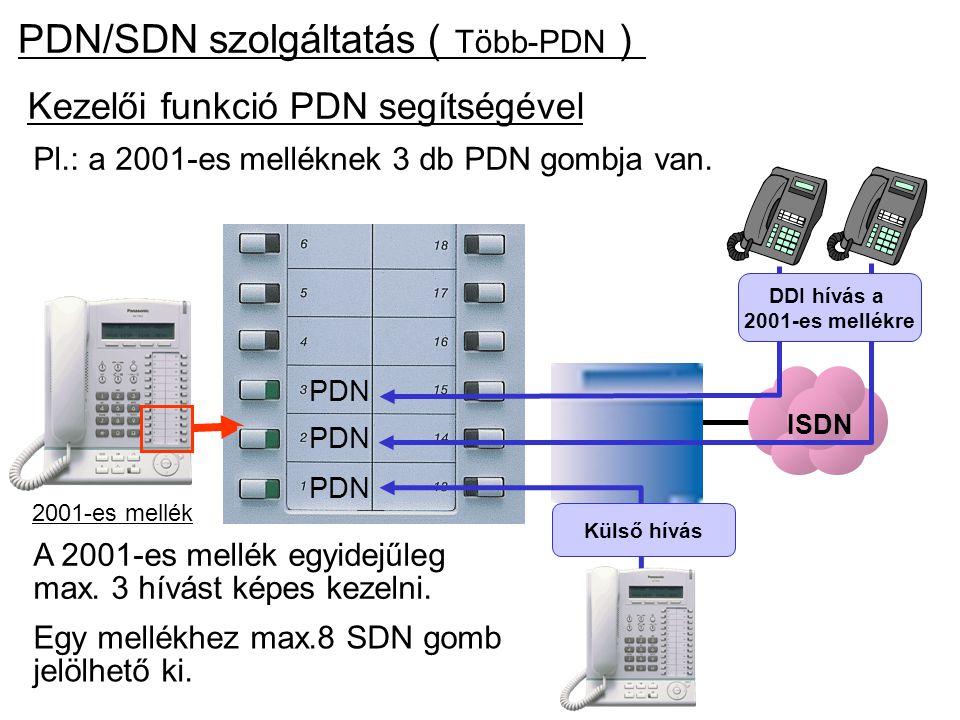 Kezelői funkció PDN segítségével 2001-es mellék PDN Pl.: a 2001-es melléknek 3 db PDN gombja van. Egy mellékhez max.8 SDN gomb jelölhető ki. PDN/SDN s