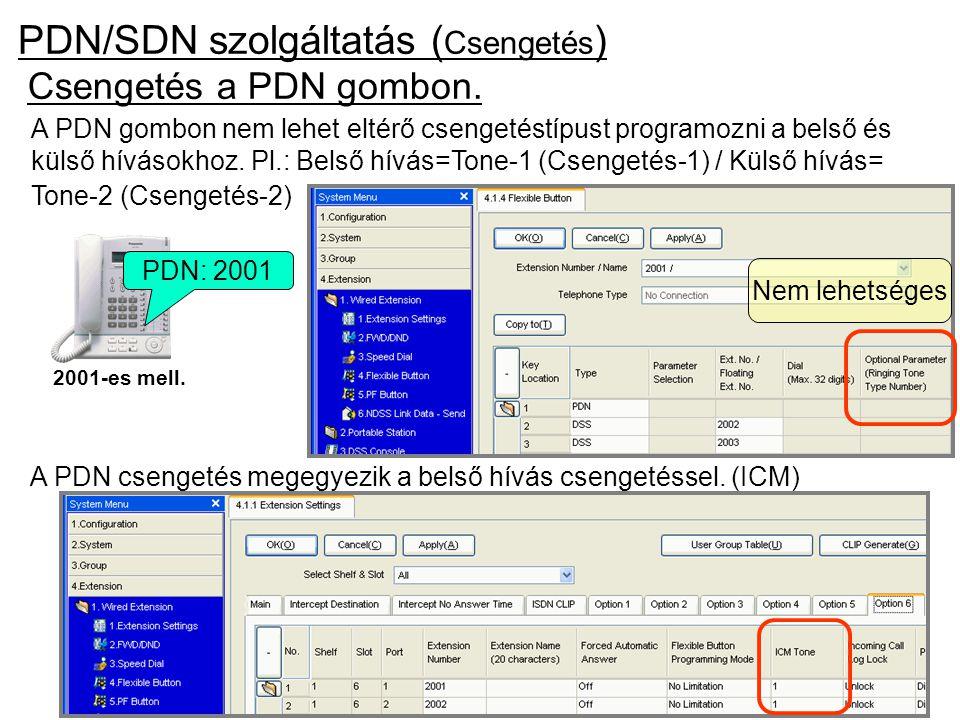 PDN/SDN szolgáltatás ( Csengetés ) Csengetés a PDN gombon. 2001-es mell. PDN: 2001 A PDN csengetés megegyezik a belső hívás csengetéssel. (ICM) Nem le