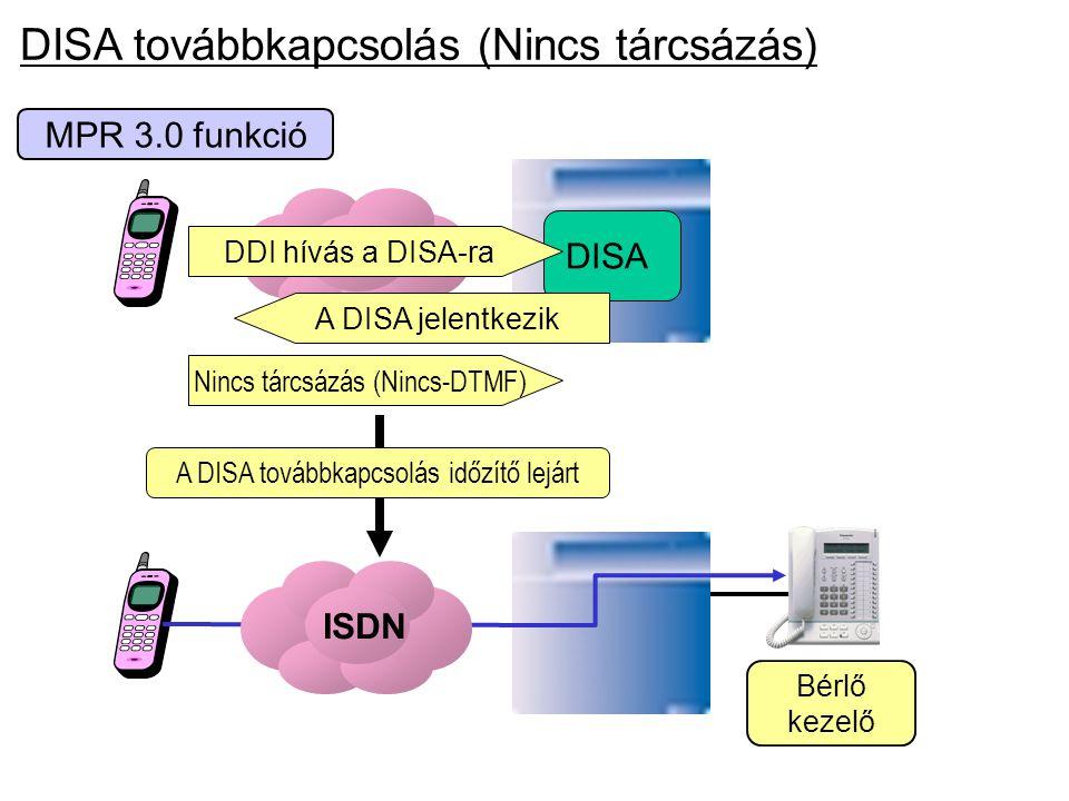 MPR 3.0 funkció ISDN DISA A DISA jelentkezik DDI hívás a DISA-ra Nincs tárcsázás (Nincs-DTMF) Bérlő kezelő ISDN A DISA továbbkapcsolás időzítő lejárt
