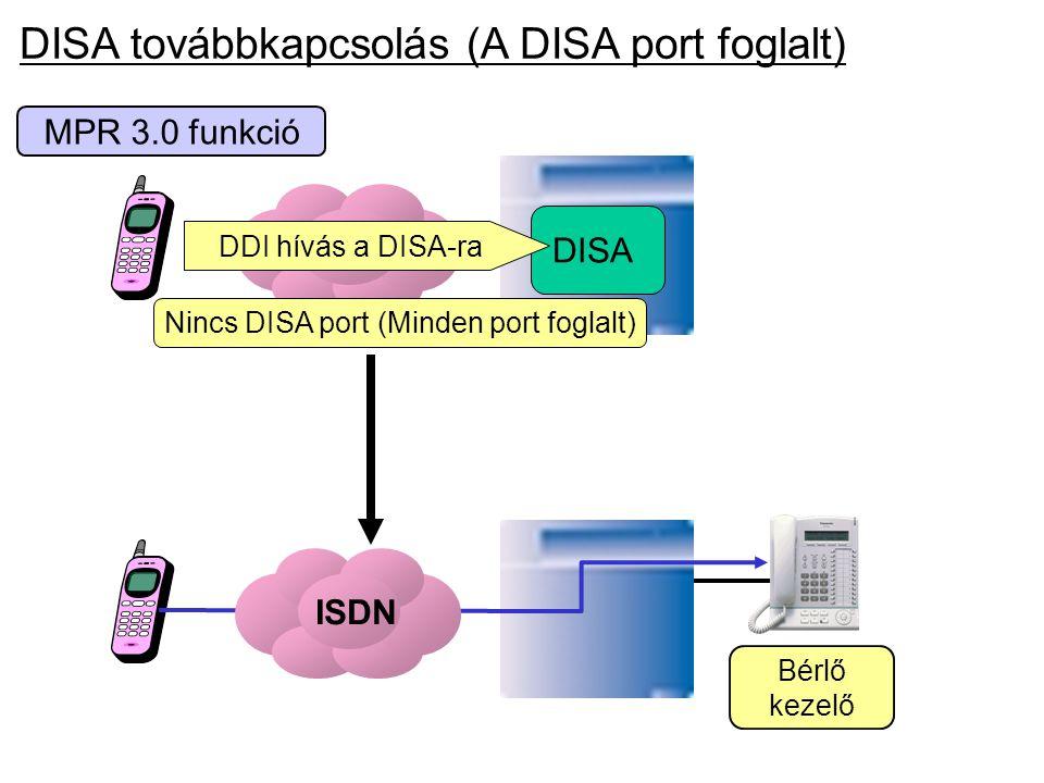 MPR 3.0 funkció ISDN DISA Nincs DISA port (Minden port foglalt) DDI hívás a DISA-ra Bérlő kezelő ISDN DISA továbbkapcsolás (A DISA port foglalt)