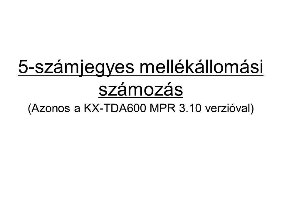 5-számjegyes mellékállomási számozás (Azonos a KX-TDA600 MPR 3.10 verzióval)