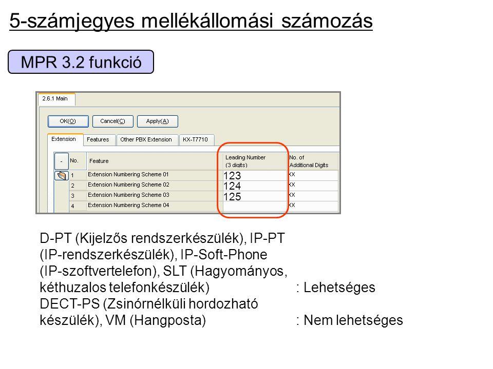 MPR 3.2 funkció 5-számjegyes mellékállomási számozás 123 124 125 D-PT (Kijelzős rendszerkészülék), IP-PT (IP-rendszerkészülék), IP-Soft-Phone (IP-szof