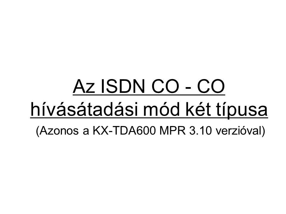 Az ISDN CO - CO hívásátadási mód két típusa (Azonos a KX-TDA600 MPR 3.10 verzióval)