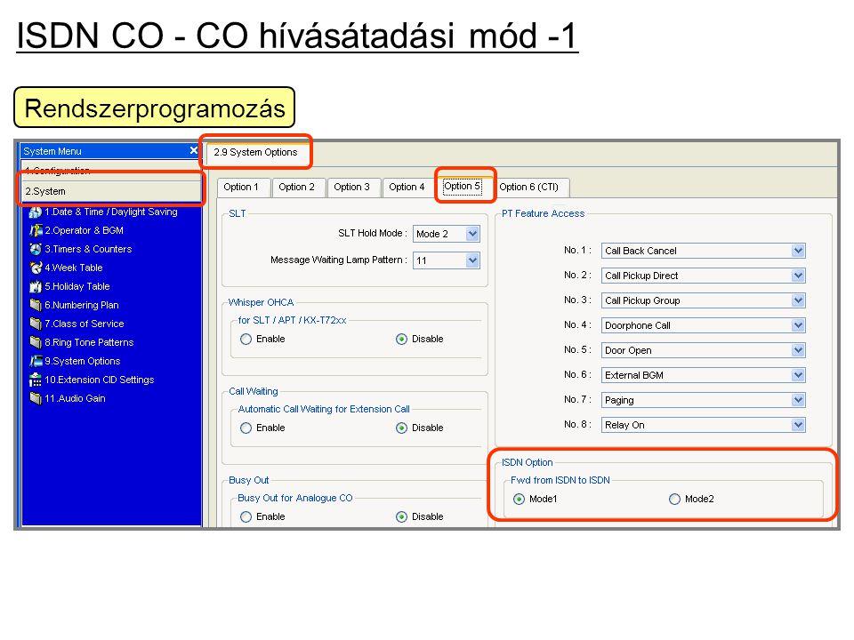 ISDN CO - CO hívásátadási mód -1 Rendszerprogramozás