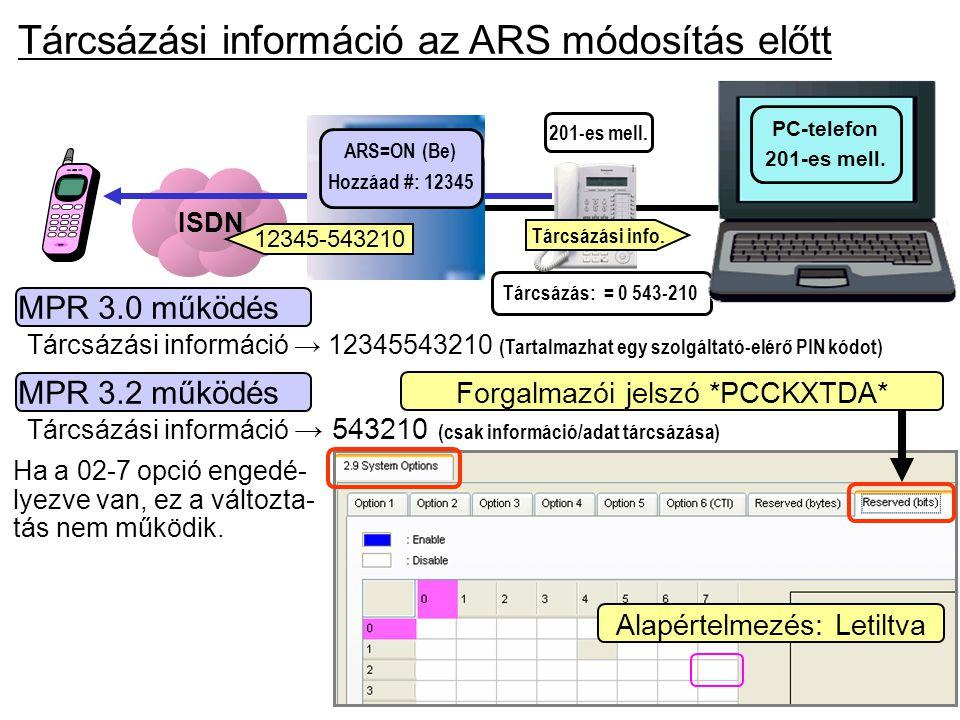 Tárcsázási információ az ARS módosítás előtt ISDN Tárcsázás: = 0 543-210 MPR 3.0 működés Tárcsázási információ → 12345543210 (Tartalmazhat egy szolgál