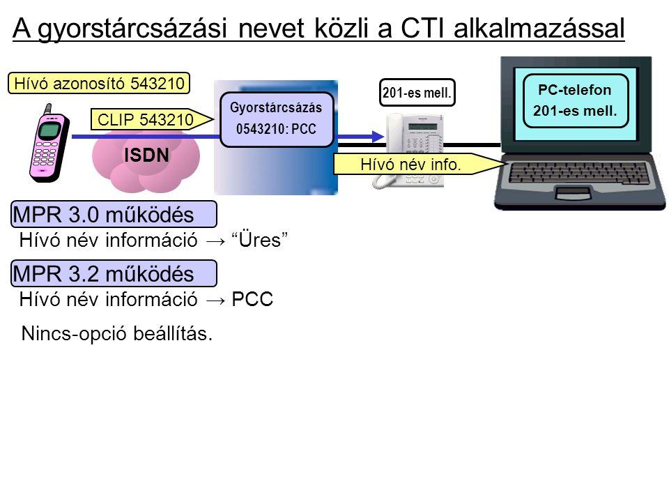 """ISDN PC-telefon 201-es mell. A gyorstárcsázási nevet közli a CTI alkalmazással MPR 3.0 működés Hívó név információ → """"Üres"""" MPR 3.2 működés Hívó név i"""
