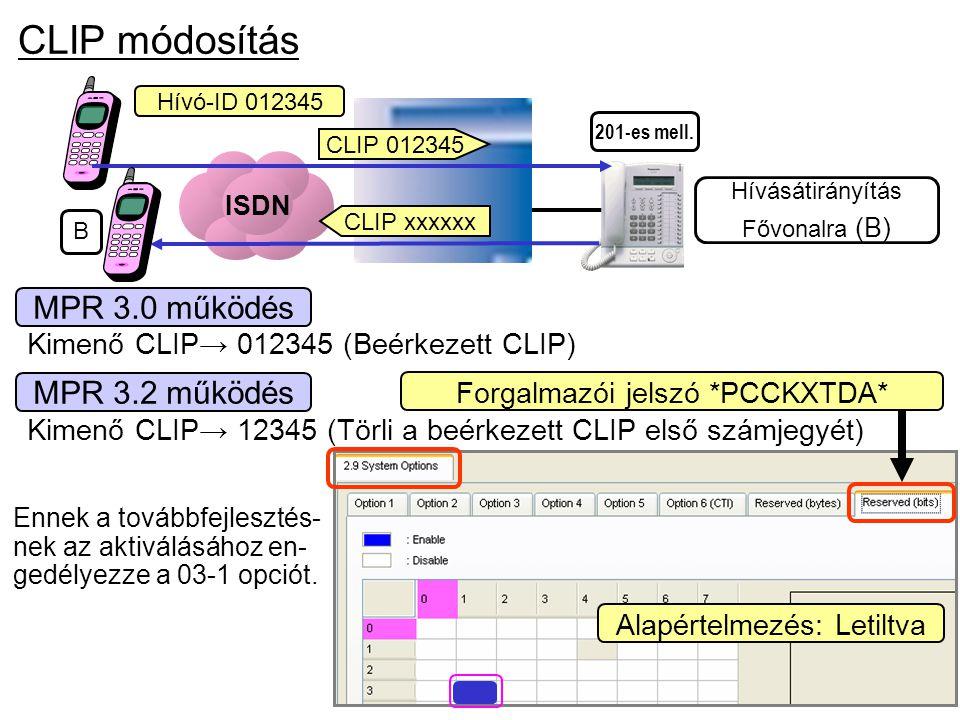 201-es mell. CLIP módosítás MPR 3.0 működés Kimenő CLIP→ 12345 (Törli a beérkezett CLIP első számjegyét) MPR 3.2 működés Ennek a továbbfejlesztés- nek
