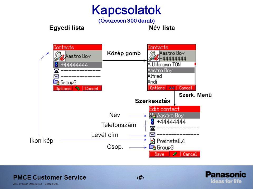 PMCE Customer Service14 X60 Product Description - Lesson One Kapcsolatok (Összesen 300 darab) Egyedi listaNév lista Közép gomb Ikon kép Telefonszám Levél cím Szerk.