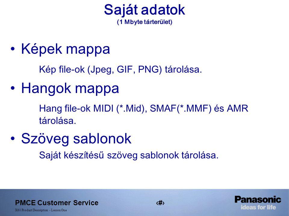 PMCE Customer Service15 X60 Product Description - Lesson One Saját adatok (1 Mbyte tárterület) Képek mappa Kép file-ok (Jpeg, GIF, PNG) tárolása.
