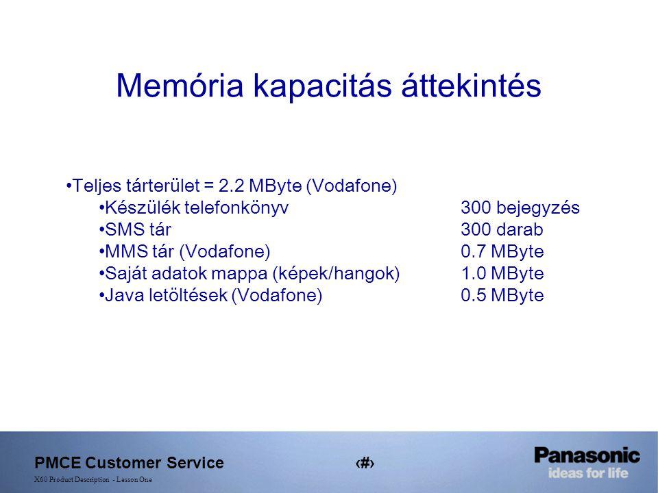 PMCE Customer Service18 X60 Product Description - Lesson One Memória kapacitás áttekintés Teljes tárterület = 2.2 MByte (Vodafone) Készülék telefonkönyv 300 bejegyzés SMS tár300 darab MMS tár (Vodafone)0.7 MByte Saját adatok mappa (képek/hangok)1.0 MByte Java letöltések (Vodafone)0.5 MByte