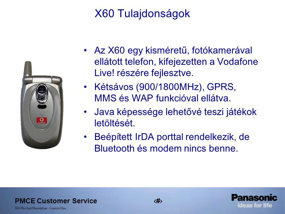 PMCE Customer Service2 X60 Product Description - Lesson One X60 Tulajdonságok Az X60 egy kisméretű, fotókamerával ellátott telefon, kifejezetten a Vodafone Live.