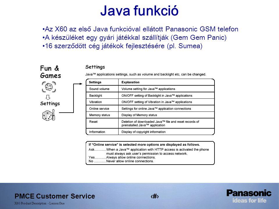 PMCE Customer Service20 X60 Product Description - Lesson One Java funkció Az X60 az első Java funkcióval ellátott Panasonic GSM telefon A készüléket egy gyári játékkal szállítják (Gem Gem Panic) 16 szerződött cég játékok fejlesztésére (pl.