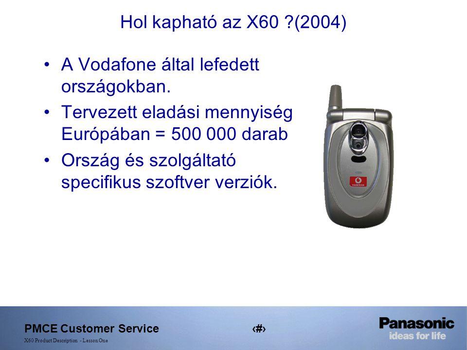 PMCE Customer Service3 X60 Product Description - Lesson One Hol kapható az X60 ?(2004) A Vodafone által lefedett országokban.