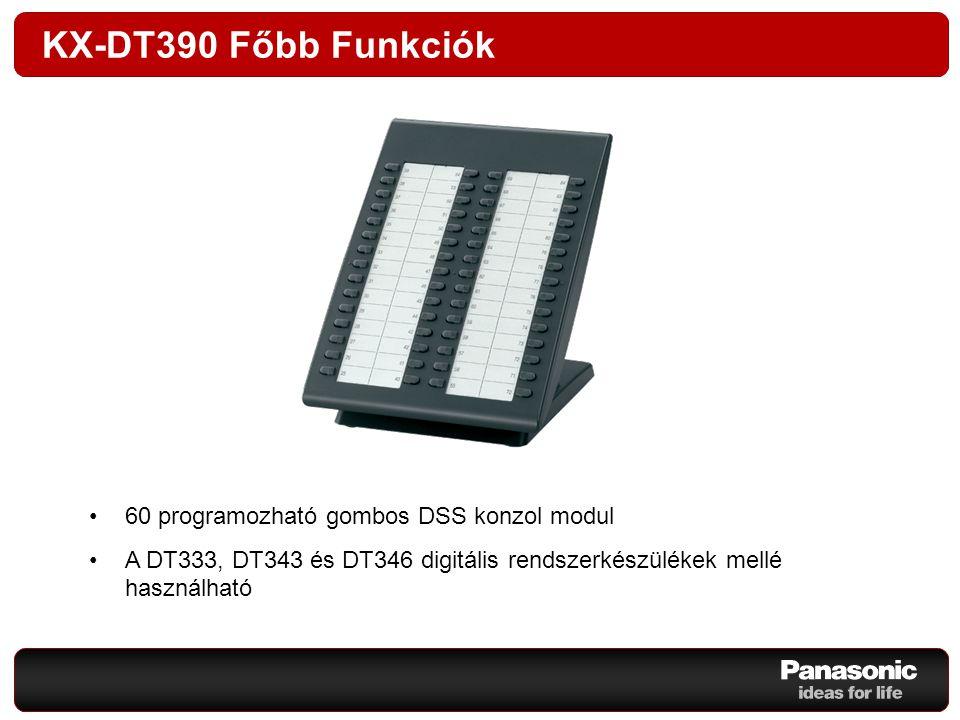 KX-DT390 Főbb Funkciók 60 programozható gombos DSS konzol modul A DT333, DT343 és DT346 digitális rendszerkészülékek mellé használható