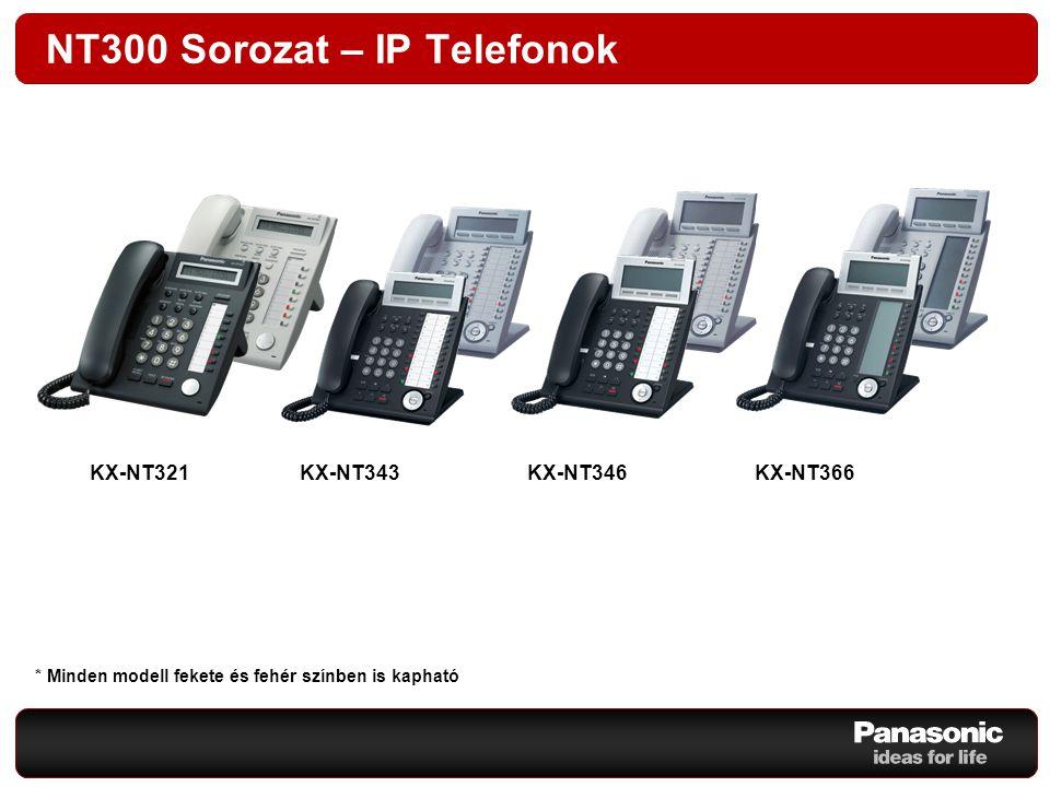 NT300 Sorozat – IP Telefonok KX-NT343 KX-NT366 KX-NT346 KX-NT321 KX-NT343KX-NT346KX-NT366 * Minden modell fekete és fehér színben is kapható