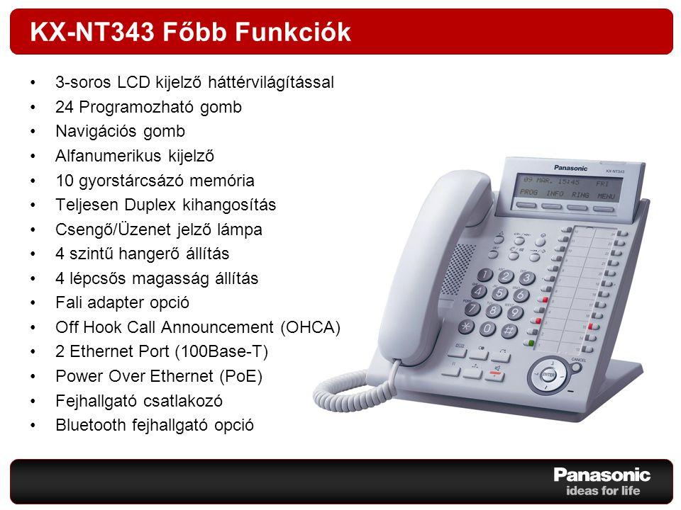 KX-NT343 Főbb Funkciók 3-soros LCD kijelző háttérvilágítással 24 Programozható gomb Navigációs gomb Alfanumerikus kijelző 10 gyorstárcsázó memória Tel