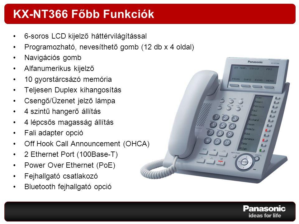 KX-NT366 Főbb Funkciók 6-soros LCD kijelző háttérvilágítással Programozható, nevesíthető gomb (12 db x 4 oldal) Navigációs gomb Alfanumerikus kijelző