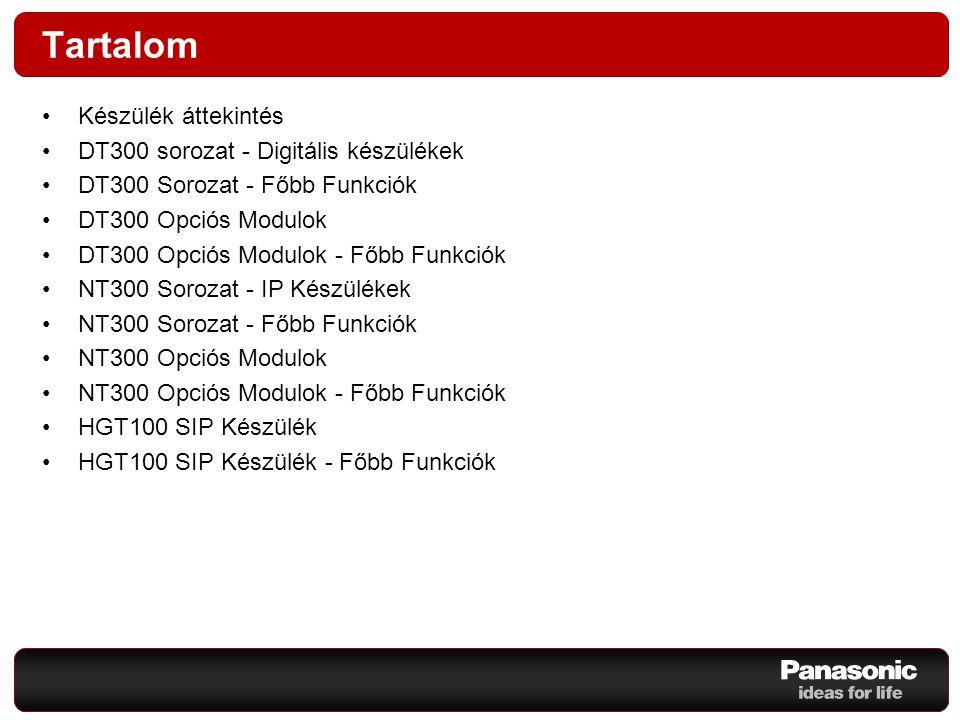 Tartalom Készülék áttekintés DT300 sorozat - Digitális készülékek DT300 Sorozat - Főbb Funkciók DT300 Opciós Modulok DT300 Opciós Modulok - Főbb Funkc