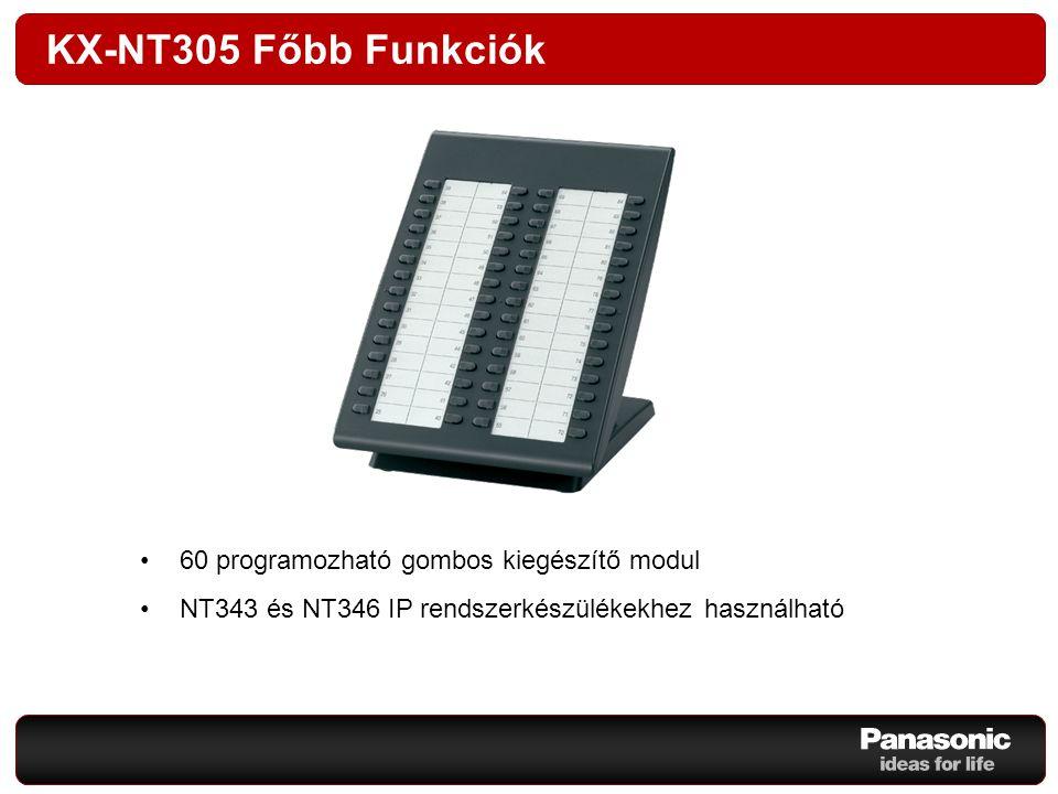 KX-NT305 Főbb Funkciók 60 programozható gombos kiegészítő modul NT343 és NT346 IP rendszerkészülékekhez használható