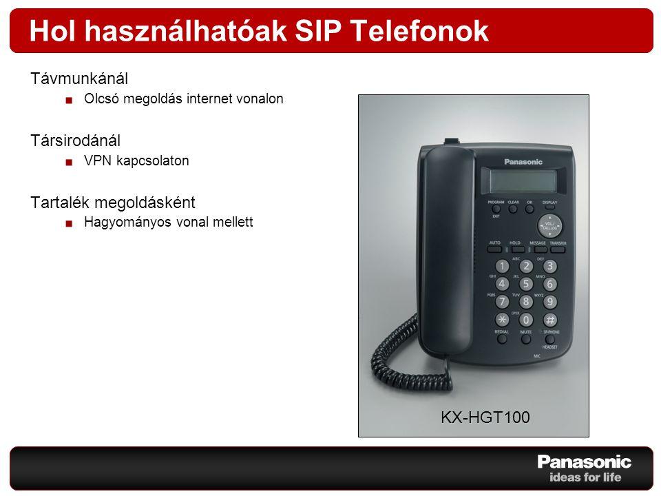 Távmunkánál Olcsó megoldás internet vonalon Társirodánál VPN kapcsolaton Tartalék megoldásként Hagyományos vonal mellett Hol használhatóak SIP Telefon