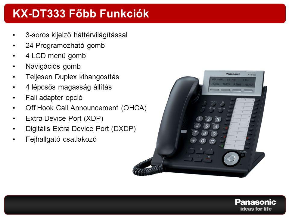 KX-DT343 Főbb Funkciók 3-soros LCD kijelző háttérvilágítással 24 Programozható gomb 4 LCD menü gomb Navigációs gomb Teljesen Duplex kihangosítás 4 lépcsős magasság állítás Fali adapter opció Off Hook Call Announcement (OHCA) Extra Device Port (XDP) Digitális Extra Device Port (DXDP) Fejhallgató csatlakozó Bluetooth fejhallgató opció Opciós modul csatlakozó