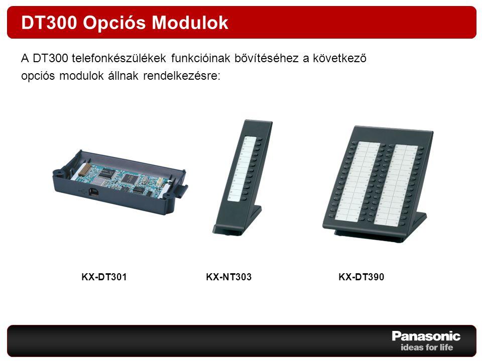 NT300 Opciós Modulok Az NT300 telefonkészülékek funkcióinak bővítéséhez a következő opciós modulok állnak rendelkezésre: KX-NT303 KX-NT305